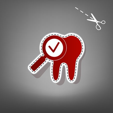 dolor de muelas: Tooth icon with a;;ow sign. Vector. Red icon with for applique from paper with shadow on gray background with scissors.