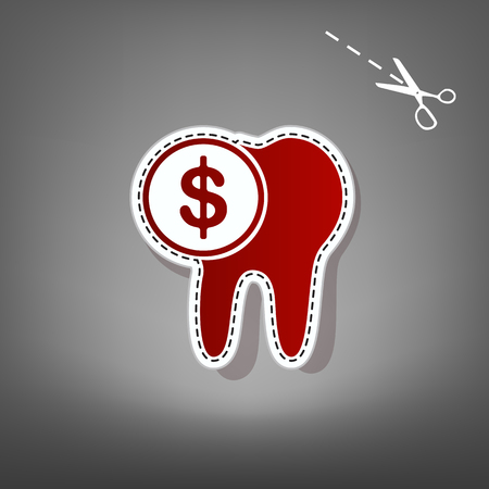 The cost of tooth treatment sign. Vector. Red icon with for applique from paper with shadow on gray background with scissors.