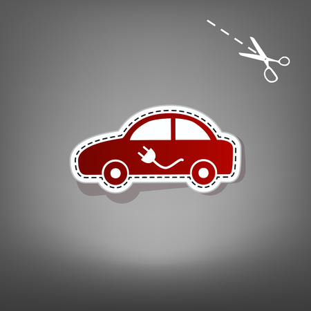 auto service: Electric car sign. Vector. Red icon with for applique from paper with shadow on gray background with scissors.