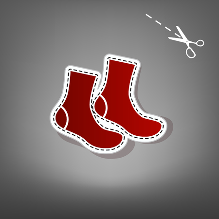 Socks sign. Vector. Red icon with for applique from paper with shadow on gray background with scissors. Illustration