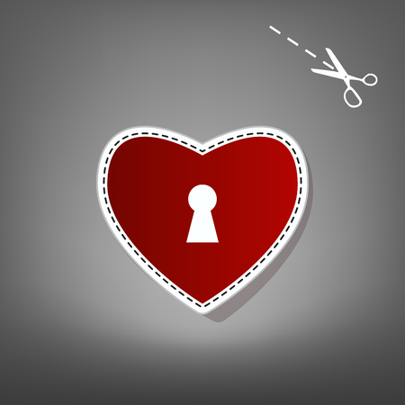 cor: Heart with lock sign. Vector. Red icon with for applique from paper with shadow on gray background with scissors.