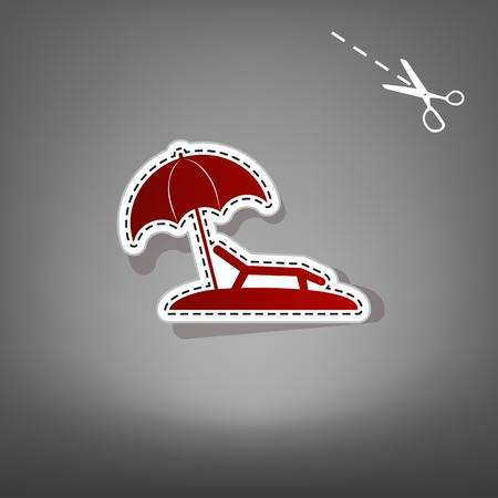 recliner: Tropical resort beach. Sunbed Chair sign. Vector. Red icon with for applique from paper with shadow on gray background with scissors.