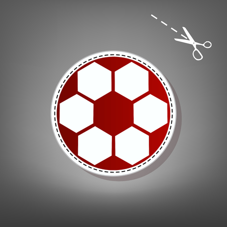 Soccer ball sign. Vector. Red icon with for applique from paper with shadow on gray background with scissors.