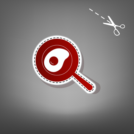 Omelet at pan icon. Vector. Red icon with for applique from paper with shadow on gray background with scissors.
