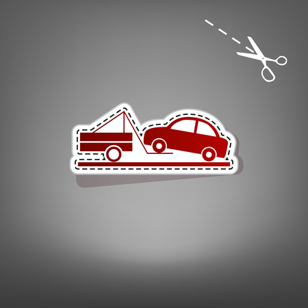 Tow truck sign. Vector. Red icon with for applique from paper with shadow on gray background with scissors.