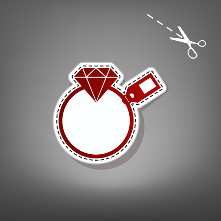 Diamond sign with tag. Vector. Red icon with for applique from paper with shadow on gray background with scissors. Illustration