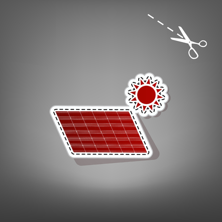 Solar energy panel. Eco trend concept sign. Vector. Red icon with for applique from paper with shadow on gray background with scissors. Illustration