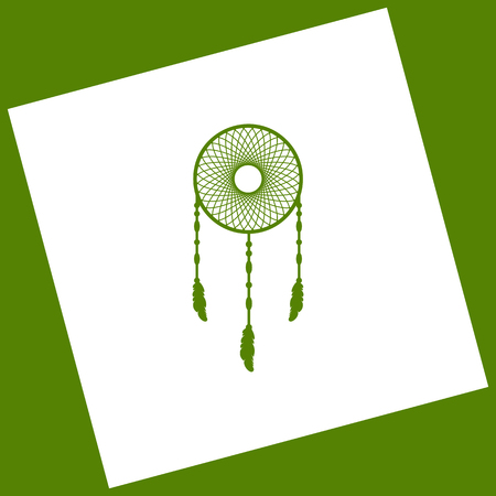 swelled: Dream catcher sign. Vector. White icon obtained as a result of subtraction rotated square and path. Avocado background.