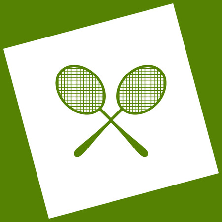 Tennis racquets sign. Vector. White icon obtained as a result of subtraction rotated square and path. Avocado background. Illustration