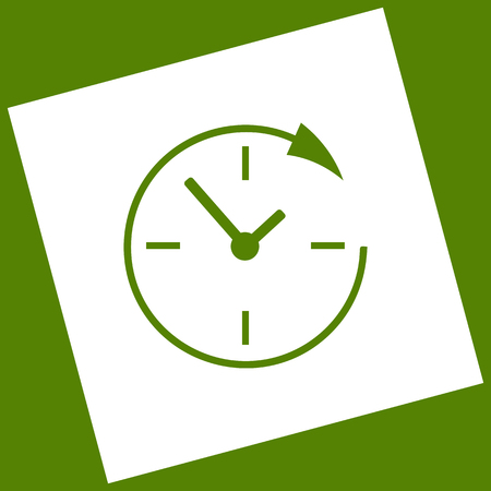 not open: Service and support for customers around the clock and 24 hours. Vector. White icon obtained as a result of subtraction rotated square and path. Avocado background.
