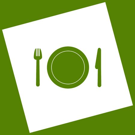 Fork, plate and knife. Vector. White icon obtained as a result of subtraction rotated square and path. Avocado background.