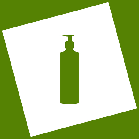 Gel, Foam Or Liquid Soap. Dispenser Pump Plastic Bottle silhouette. Vector. White icon obtained as a result of subtraction rotated square and path. Avocado background.