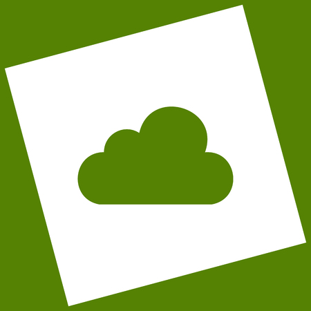 Cloud sign illustration. Vector. White icon obtained as a result of subtraction rotated square and path. Avocado background.