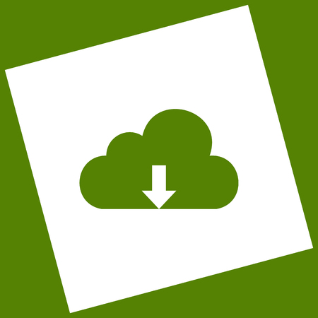 Cloud technology sign. Vector. White icon obtained as a result of subtraction rotated square and path. Avocado background.