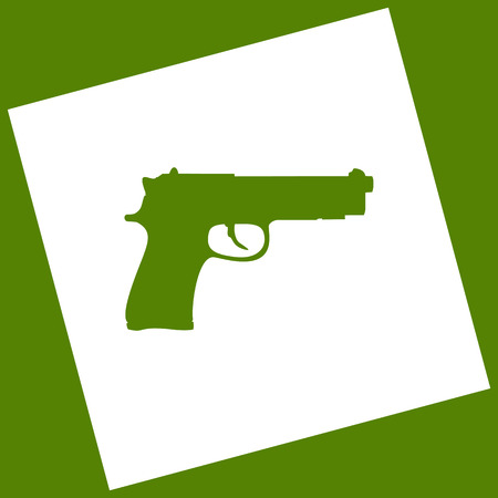 Gun sign illustration. Vector. White icon obtained as a result of subtraction rotated square and path. Avocado background. Illustration
