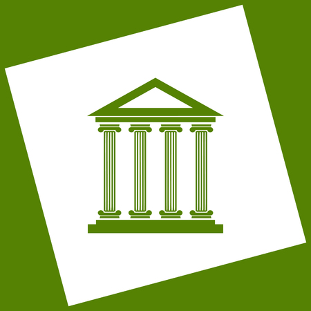 roman column: Historical building illustration. Vector. White icon obtained as a result of subtraction rotated square and path. Avocado background.
