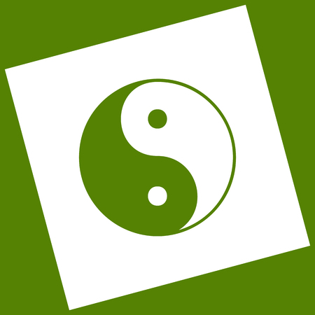 Ying yang symbol of harmony and balance. Vector. White icon obtained as a result of subtraction rotated square and path. Avocado background.