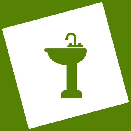 Bathroom sink sign. Vector. White icon obtained as a result of subtraction rotated square and path. Avocado background.