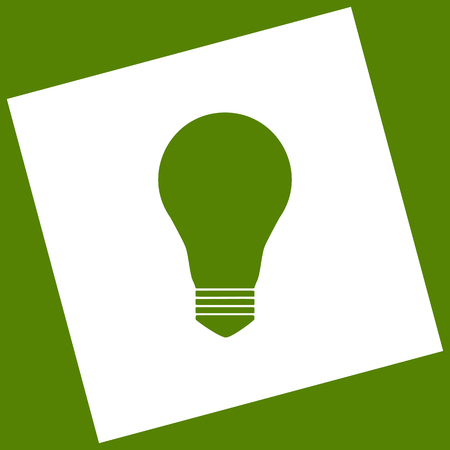 Light lamp sign. Vector. White icon obtained as a result of subtraction rotated square and path. Avocado background.