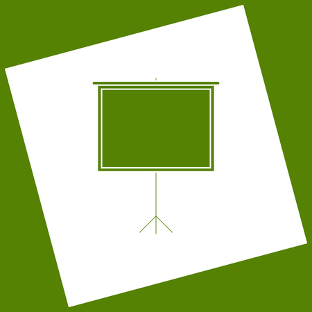 increase fruit: Blank Projection screen. Vector. White icon obtained as a result of subtraction rotated square and path. Avocado background.