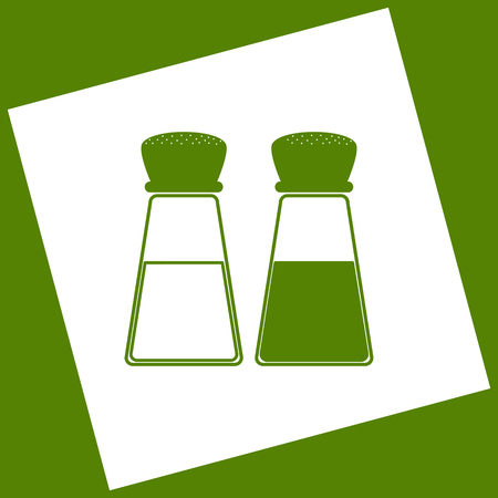 Salt and pepper sign. Vector. White icon obtained as a result of subtraction rotated square and path. Avocado background.
