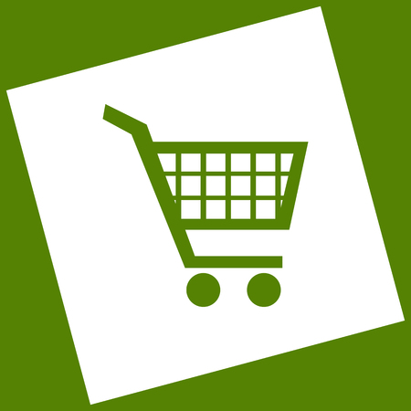 Shopping cart sign. Vector. White icon obtained as a result of subtraction rotated square and path. Avocado background.