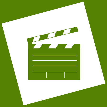 flick: Film clap board cinema sign. Vector. White icon obtained as a result of subtraction rotated square and path. Avocado background.