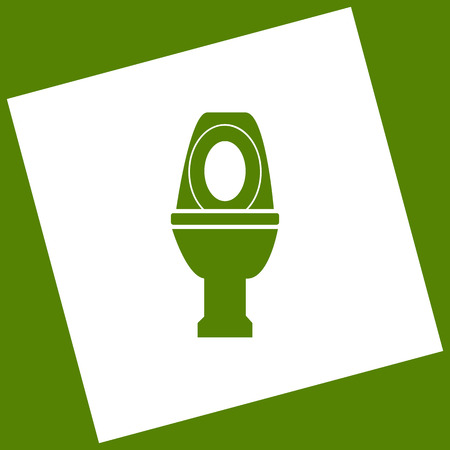 Toilet sign illustration. Vector. White icon obtained as a result of subtraction rotated square and path. Avocado background.
