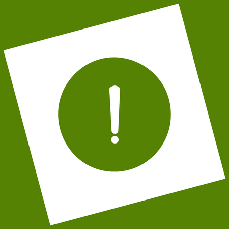 inform information: Exclamation mark sign. Vector. White icon obtained as a result of subtraction rotated square and path. Avocado background. Illustration