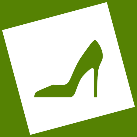 Woman shoe sign. Vector. White icon obtained as a result of subtraction rotated square and path. Avocado background. Illustration