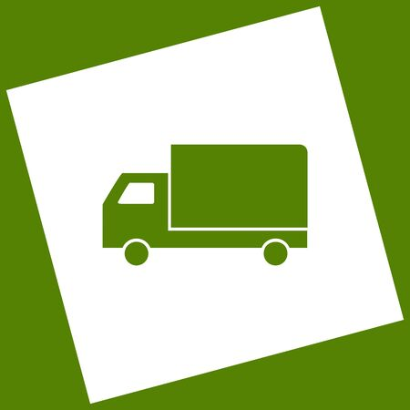auto service: Delivery sign illustration. Vector. White icon obtained as a result of subtraction rotated square and path. Avocado background.