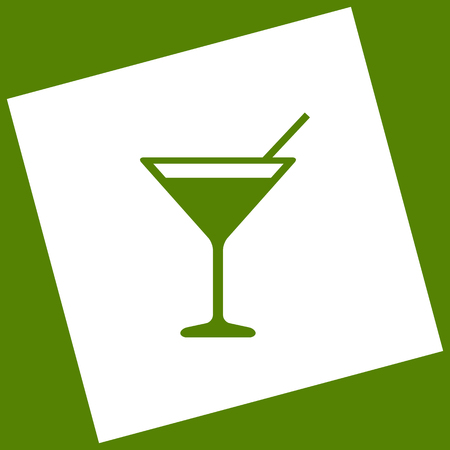 Cocktail sign illustration. Vector. White icon obtained as a result of subtraction rotated square and path. Avocado background.