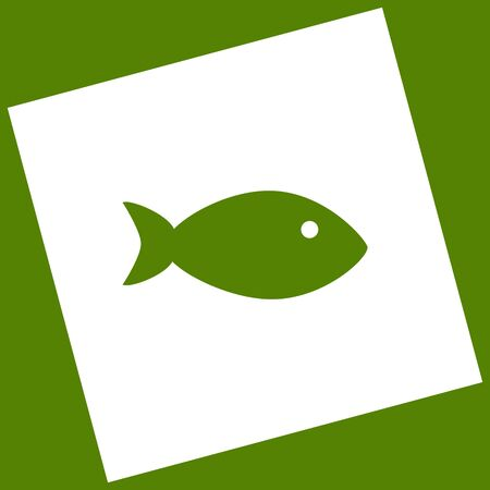 Fish sign illustration. Vector. White icon obtained as a result of subtraction rotated square and path. Avocado background.