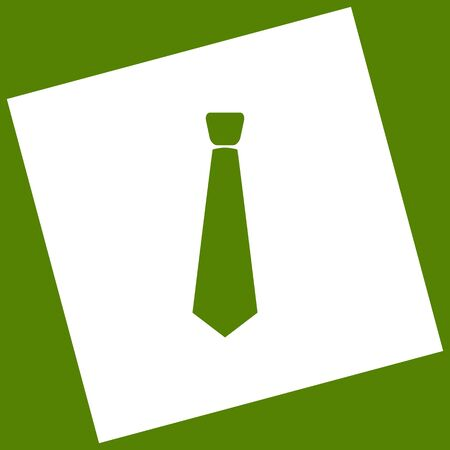 Tie sign illustration. Vector. White icon obtained as a result of subtraction rotated square and path. Avocado background. Illustration