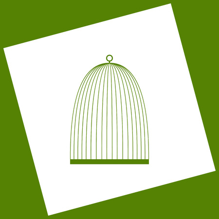 Bird Cage Sign Vector White Icon Obtained As A Result Of Subtraction Rotated Square