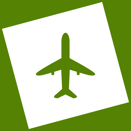 Airplane sign illustration. Vector. White icon obtained as a result of subtraction rotated square and path. Avocado background.