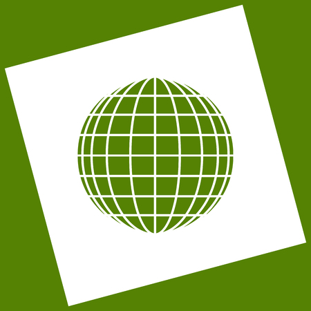 Earth Globe sign. Vector. White icon obtained as a result of subtraction rotated square and path. Avocado background.
