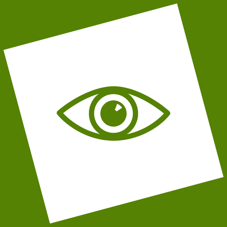 Eye sign illustration. Vector. White icon obtained as a result of subtraction rotated square and path. Avocado background. Illustration