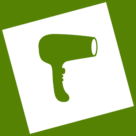 Hair Dryer sign. Vector. White icon obtained as a result of subtraction rotated square and path. Avocado background.
