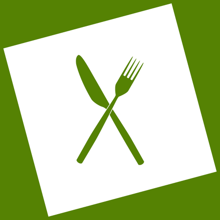 Fork and Knife sign. Vector. White icon obtained as a result of subtraction rotated square and path. Avocado background.