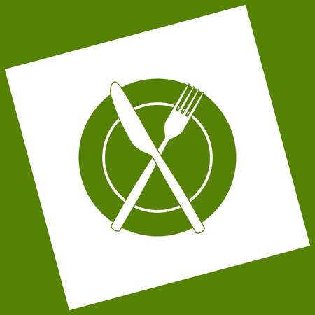 Fork, Knife and Plate sign. Vector. White icon obtained as a result of subtraction rotated square and path. Avocado background.