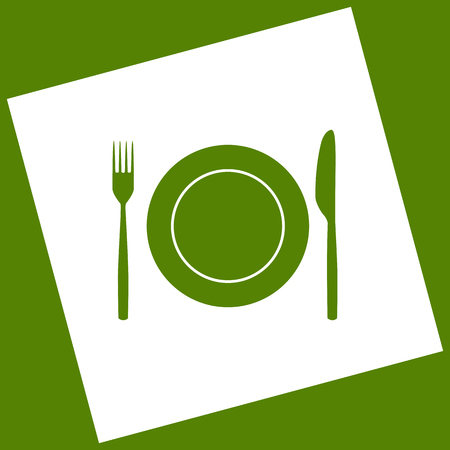 stainless steel: Fork, Knife and Plate sign. Vector. White icon obtained as a result of subtraction rotated square and path. Avocado background.