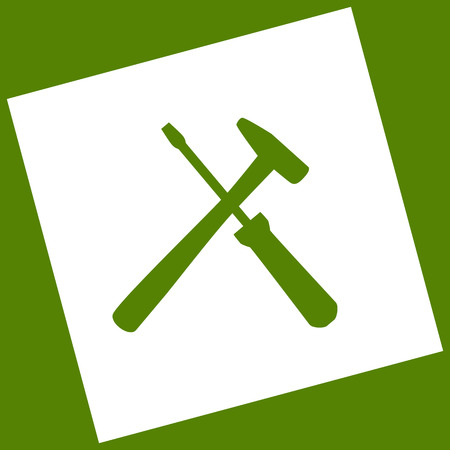 Tools sign illustration. Vector. White icon obtained as a result of subtraction rotated square and path. Avocado background.