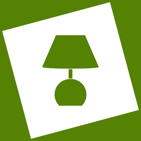 Lamp sign illustration. Vector. White icon obtained as a result of subtraction rotated square and path. Avocado background. Illustration