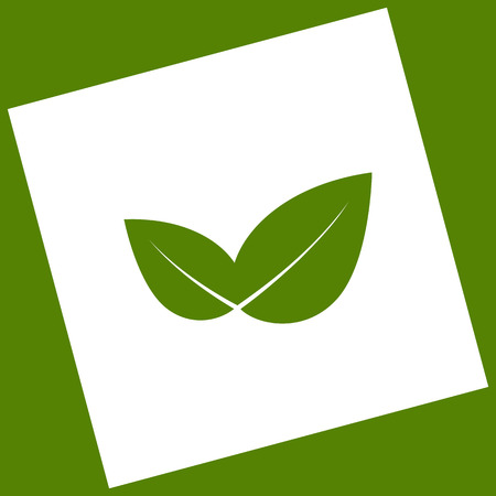 Leaf sign illustration. Vector. White icon obtained as a result of subtraction rotated square and path. Avocado background.