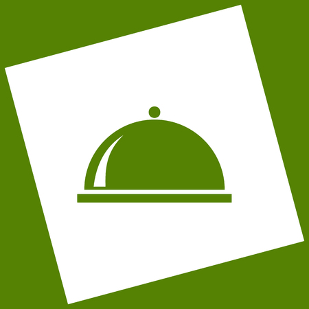 Server sign illustration. Vector. White icon obtained as a result of subtraction rotated square and path. Avocado background.