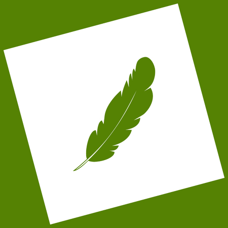 Feather sign illustration. Vector. White icon obtained as a result of subtraction rotated square and path. Avocado background.