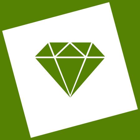 Diamond sign illustration. Vector. White icon obtained as a result of subtraction rotated square and path. Avocado background. Illustration