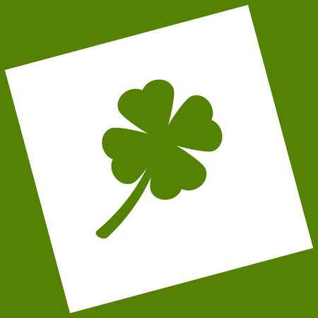 patrick: Leaf clover sign. Vector. White icon obtained as a result of subtraction rotated square and path. Avocado background.