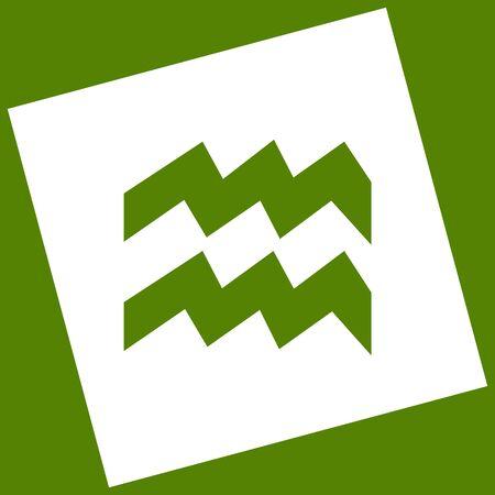capricornio: Ilustración de signo de Acuario. Vector. El icono blanco obtenido como resultado de la resta rota el cuadrado y la ruta. Fondo de aguacate